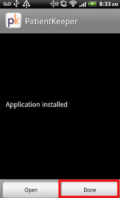 6. After the application is installed click Done.