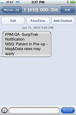 surgitrak text notification